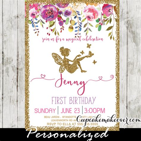 fairy  birthday invitations pink floral gold glitter