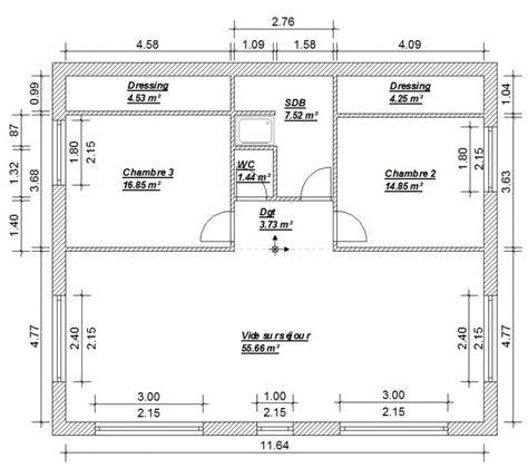 plan de maison 4 chambres avec 騁age plan maison 4 chambres 130m2