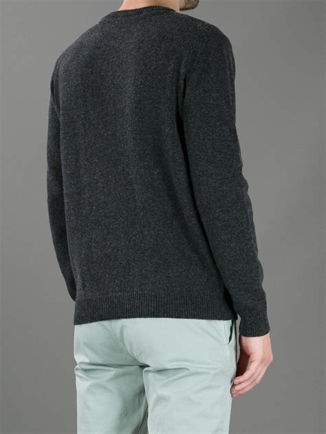 wolf sweater msgm wolf knit sweater in black for grey lyst