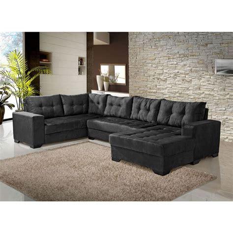 sala de tv sofa preto conjunto de sof 225 de canto 5 lugares bia chaise preto