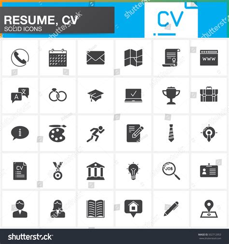 Free Resume Icons Vector by Vector Icons Set Resume Cv Modern Stock Vector 502712953
