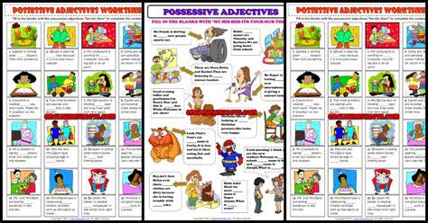 possessive adjectives esl printable worksheets  exercises