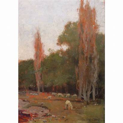 Parrish Landscape Maxfield Painting Oil Stephen Sheep