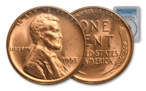 1955 San Francisco Lincoln Wheat Cent Penny Pcgs Ms65 Red