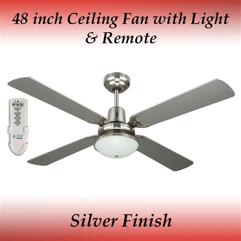 ceiling fan winter mode fias ramo silver 4 blade ceiling fan with light and remote