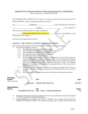 standard form of agreement between owner and contractor 23 printable small construction project contract forms and