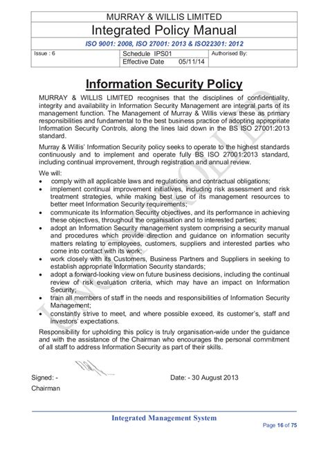 information security policy document template information security policies