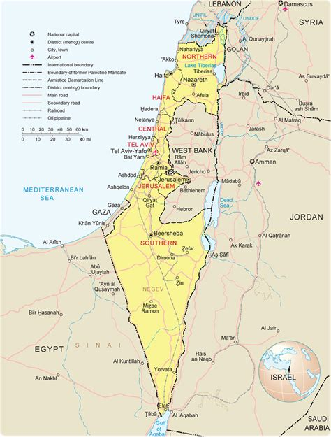 political  administrative map  israel israel