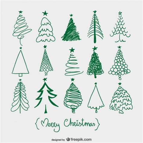 christmas trees sketches doodle vector vynil wall art