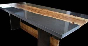 Concrete and Wood Table by Keelin Kennedy Concrete Exchange