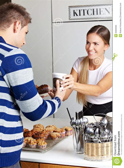 Customer Buying Coffee And Muffins Royalty Free Stock ...