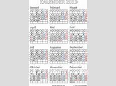 Kalender 2019 met feestdagen Gratis printbare PDF