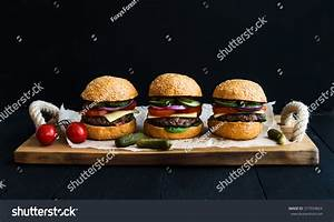 Fresh Beef Burgers Cheese Vegetables Pickles Stock Photo ...