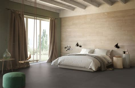 bedroom feature wall idea with wood like tiles