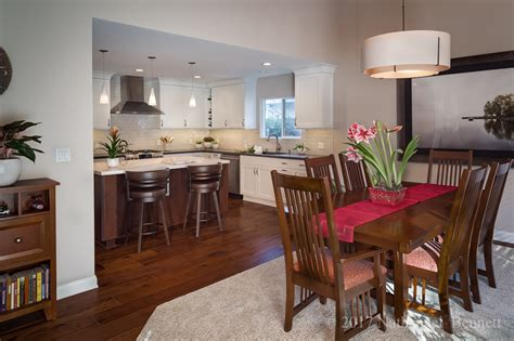 Transitional Open Plan Kitchen, Dining, Family Room