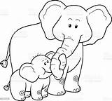 Coloring Elephants Children Illustration Elephant Vector Animal Africa Res sketch template