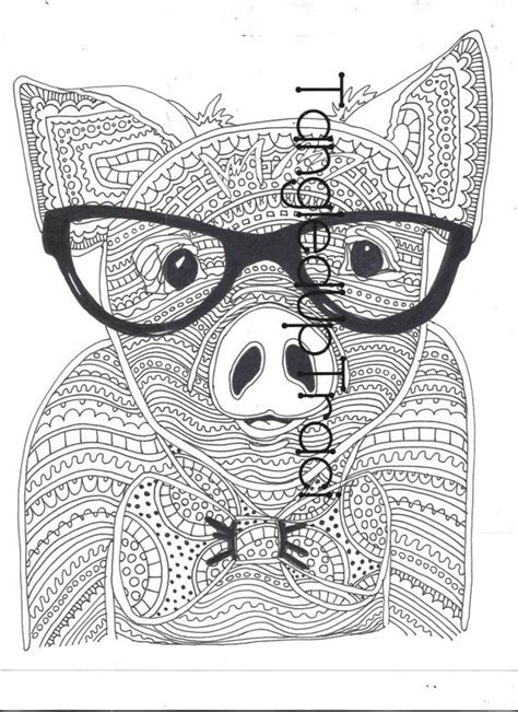 Detailed and intricate pig zentangle coloring page to