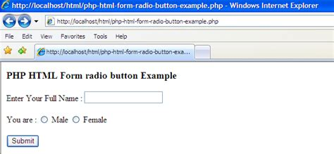 exles php html form radio button exle