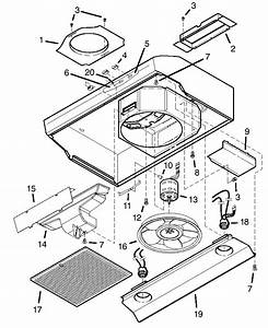 Range Hood Diagram  U0026 Parts List For Model Qs136ww Broan