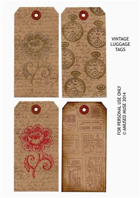 amused muse vintage luggage tags  printable