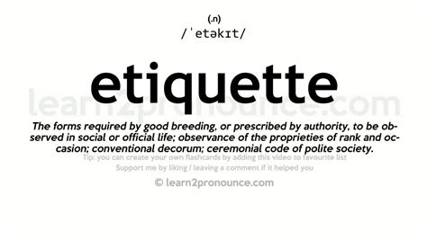 Etiquette Pronunciation And Definition