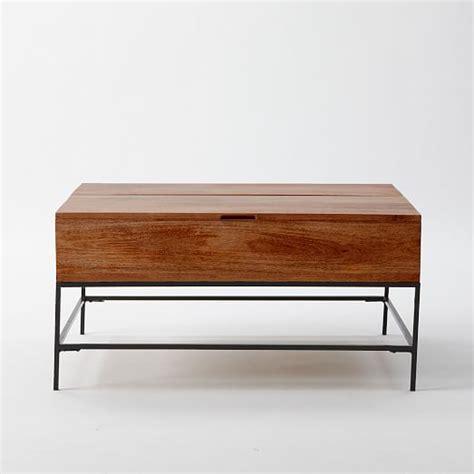 west elm flat bar storage desk industrial storage coffee table west elm