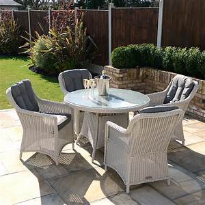 Kensington Deluxe 110cm Round Table With 4 Henley Dining