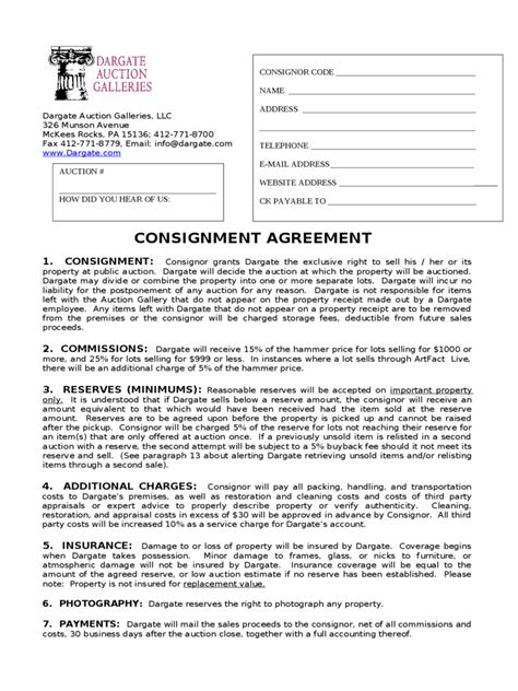 consignment agreement form   templates   word