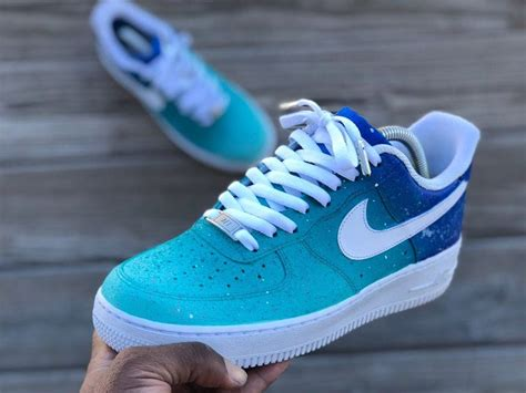 custom turquoise air force nike air shoes