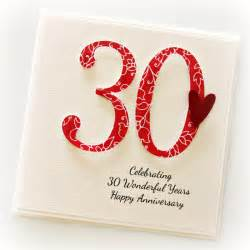 30th wedding anniversary ideas 30th anniversary custom card personalised wedding husband pearl the card boutique