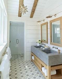 des sols originaux pour la salle de bain cocon de With carrelage salle de bain clair