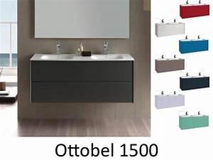 Meuble Salle De Bain 150 : meuble salle de bain suspendu de 150 cm avec double vasques ottobel 1500 ~ Teatrodelosmanantiales.com Idées de Décoration