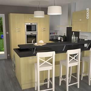 Cuisine en bois porte contemporaine betula bouleau for Petite cuisine équipée avec meuble chaise