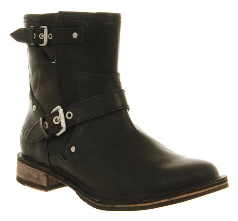 motorcycle in boots ugg fabriza motorcycle boot black leather in black lyst