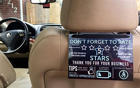 Uber Lyft Tip And Rating Sign For Rideshare Drivers Large