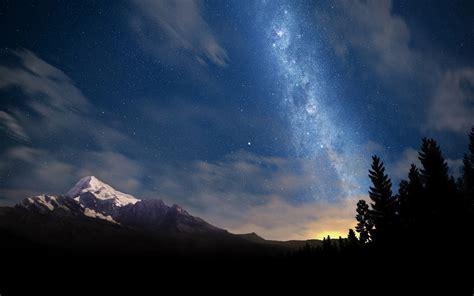 Wallpaper Sunlight Landscape Mountains Galaxy Sky
