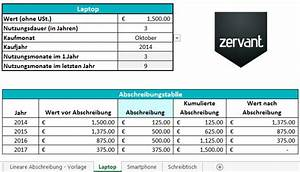 Zervant Rechnung : kostenlose abschreibungsvorlage in excel mit anleitung zervant blog ~ Themetempest.com Abrechnung
