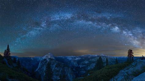 Pictures Yosemite California Usa Stars Milky Way Glacier