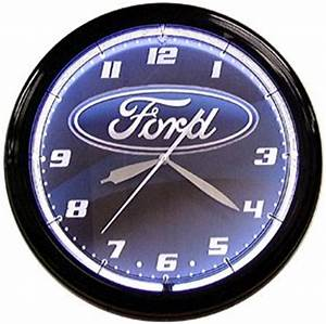 Ford oval logo sign 2 ring neon clock