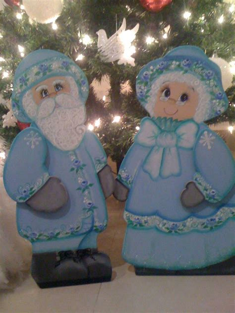 Wood For Decorative Painting - blue mr and mrs santa with decorative painting made