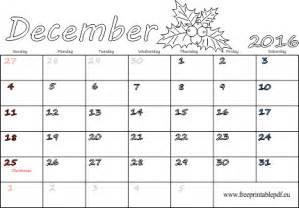 december 2016 calendar blank printable free printable pdf