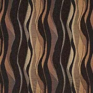Brown And Black, Abstract Striped Chenille Upholstery