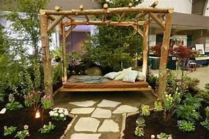 canape et lit suspendu pour decoration de terrasse et With jardin avec gravier blanc 6 canape et lit suspendu pour decoration de terrasse et