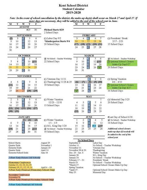 kent school district announces school calendar voice