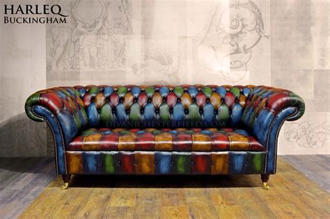 Divano Chesterfield Pelle Patchwork Moderno Buckingham
