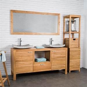 Salle De Bain Teck : meuble sous vasque double vasque meuble salle de bain ~ Edinachiropracticcenter.com Idées de Décoration
