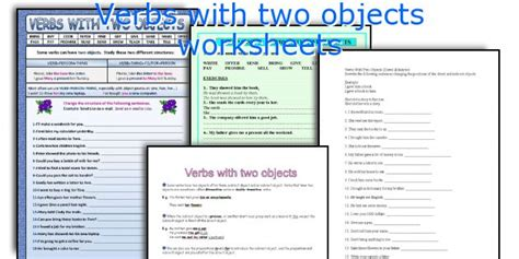 worksheets verbs with two objects verbs with two objects worksheets