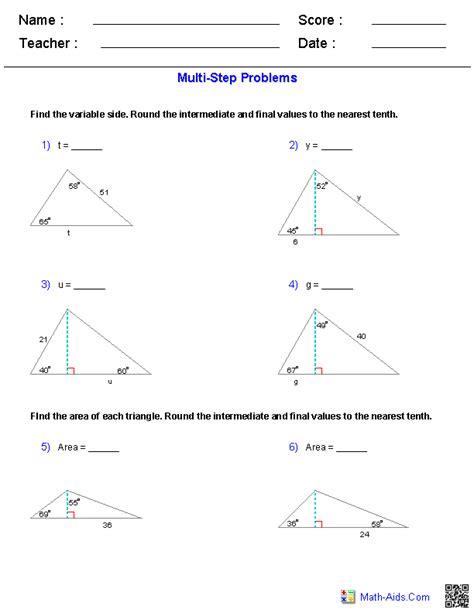 algebra  worksheets trigonometry worksheets