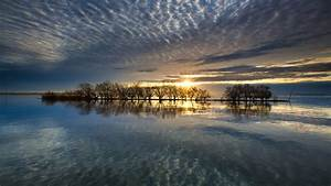 japan, lake, with, trees, under, gray, clouds, during, sunset, hd