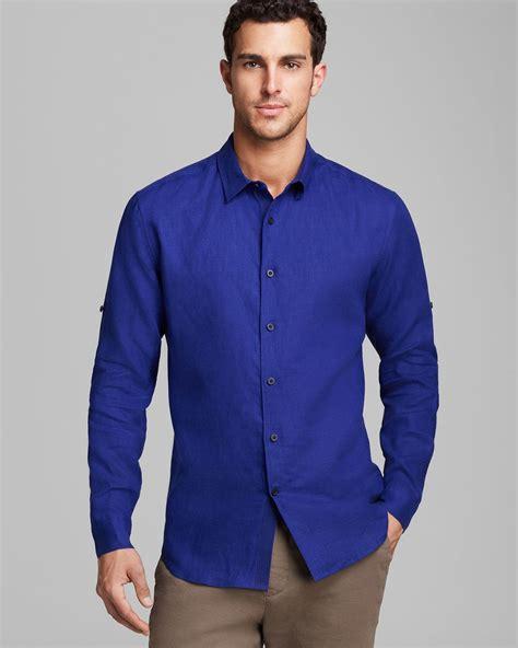 Elie Tahari Steve Linen Sport Shirt Classic Fit In Blue